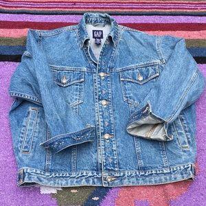 Vintage oversized GAP floral denim jacket, S